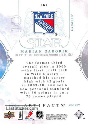 Marian Gaborik  /25 (New York Rangers) - Back