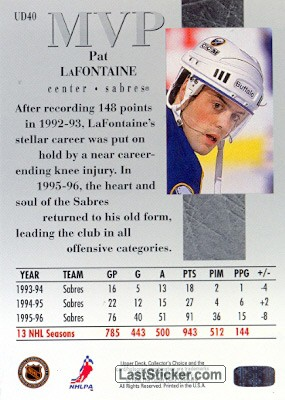 Pat LaFontaine (MVP) - Back