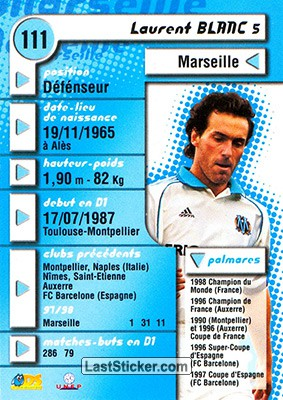 Laurent Blanc (Marseille) - Back